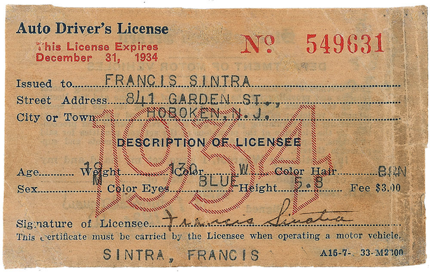 frank sinatra's driving license