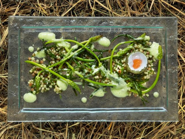Gull's Eggs with fregola, wild asparagus and samphire