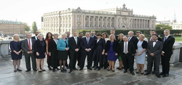 Sweden's new cabinet in front of the Riksdag