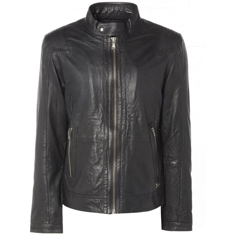 Barneys Men's Black Leather Biker Jacket with Tab Neck Collar