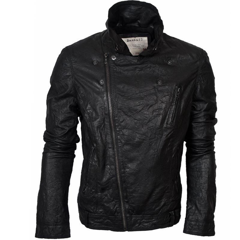 Barneys Vintage Men's Black Leather Asymmetric Biker Jacket