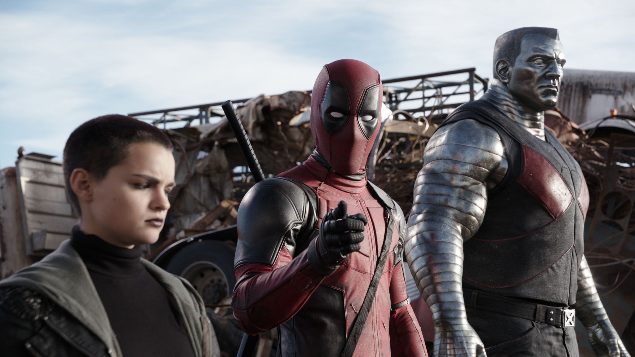 Deadpool (Ryan Reynolds) pauses from a life-and-death battle to break the fourth wall.