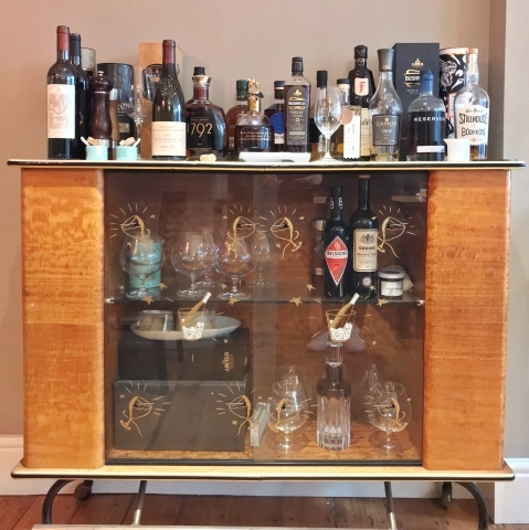 Bowling Bird interior - drinks cabinet