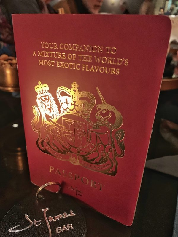 St James Bar Passport Menu